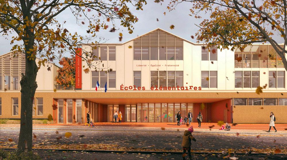 Façade des écoles élémentaires de la reconstruction groupe scolaire Joliot Curie