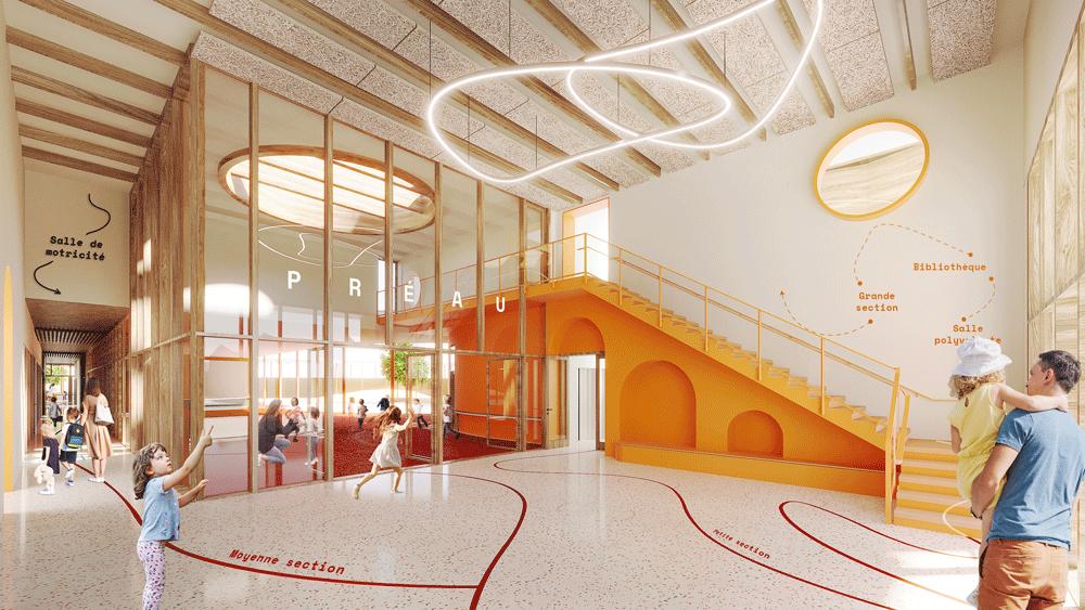 Vue du Hall de la reconstruction groupe scolaire Joliot Curie